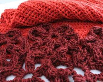 Red afghan with Burgundy Flowers