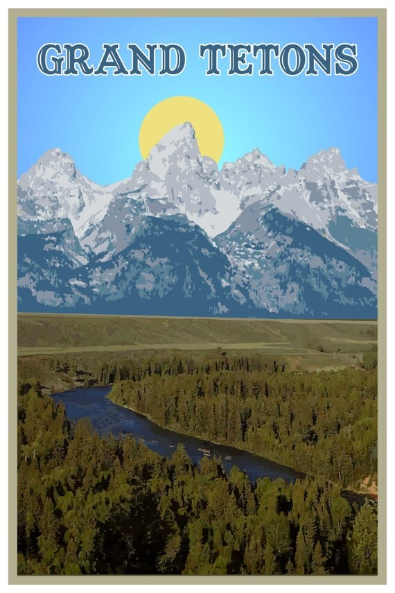 Grand Teton National Park Travel Poster Wall By