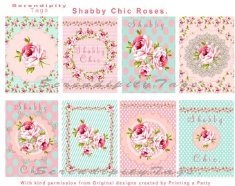 Shabby Chic Roses Tags
