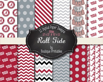 Roll Tide Bama digital papers - 12x12 and 8.5x11 300 dpi