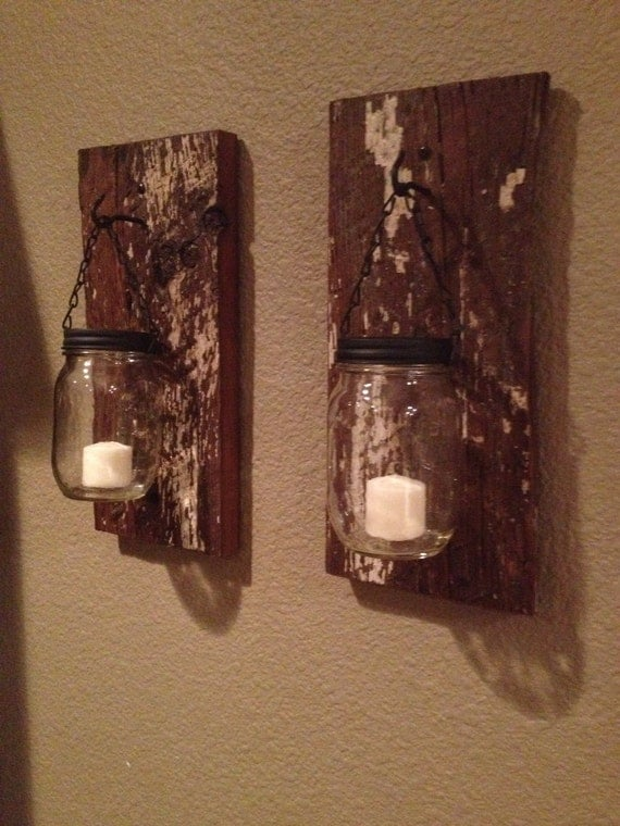 barn wood mason jar candle holders. Black Bedroom Furniture Sets. Home Design Ideas