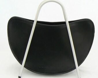 Black Leather Handbag with Metal handles