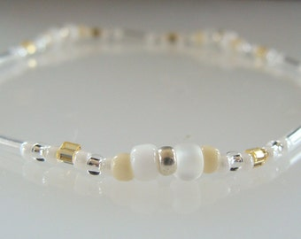 Stretchy Anklet, White, Gold, Silver, Beaded