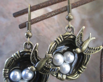 Beautiful Vintage Bronze Bird Nest Faux Pearl Eggs Handmade Earrings