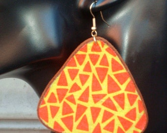 Large Orange & Yellow African Print Triangle Earrings