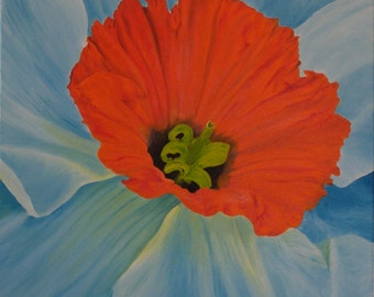 "Original Oil Painting, Flower, Daffodil - ""Daffodil Beauty"" (18"" x 18"" One of a Series)"