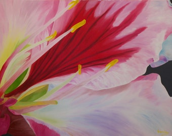 """Original Oil Painting, Flower, Lily - """"Brazilian Lily"""" (30"""" x 40"""")"""