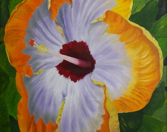 "Hibiscus Oil Painting, Flower Oil Painting, Hibiscus, Original Oil Painting - ""Fancy Hibiscus"" (24"" x 30"")"