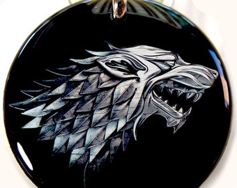 Dog ID Tag Pet id tags Unique pet tags Games of thrones House Sigils Stark Direwolf