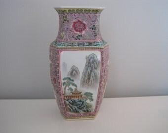 Vintage Chinoiserie Pink Pastel Vase