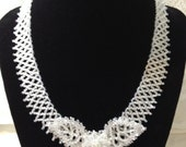 Satin White Lacy Leaves, Netted Collar Necklace; Unique Handmade Bridal Jewelry; Bead Woven Floral Jewelry Set; White Seed Bead Necklace Set