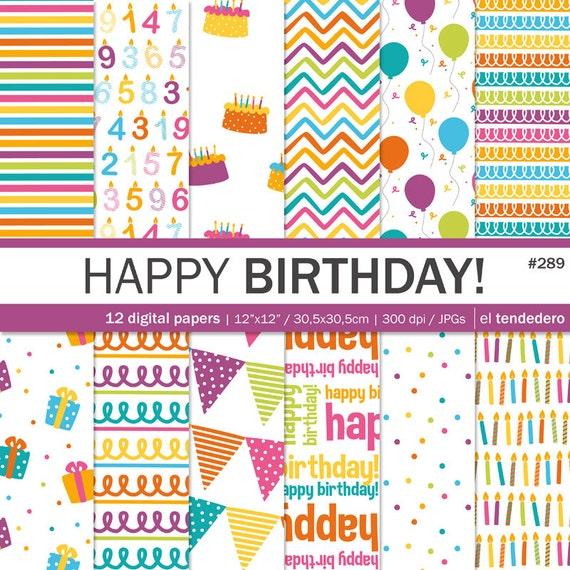 "Birthday Digital Paper Pack ""happy Birthday!"", With"