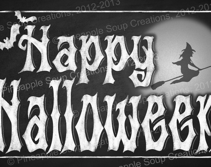 Chalkboard style Halloween Sign  or Placemat - instant Download - 2 sizes - DIY Halloween printable decorations