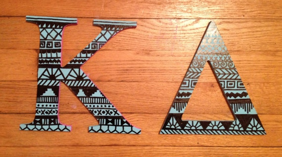 Items similar to one 12quot wooden aztec solid sorority for Greek wooden block letters