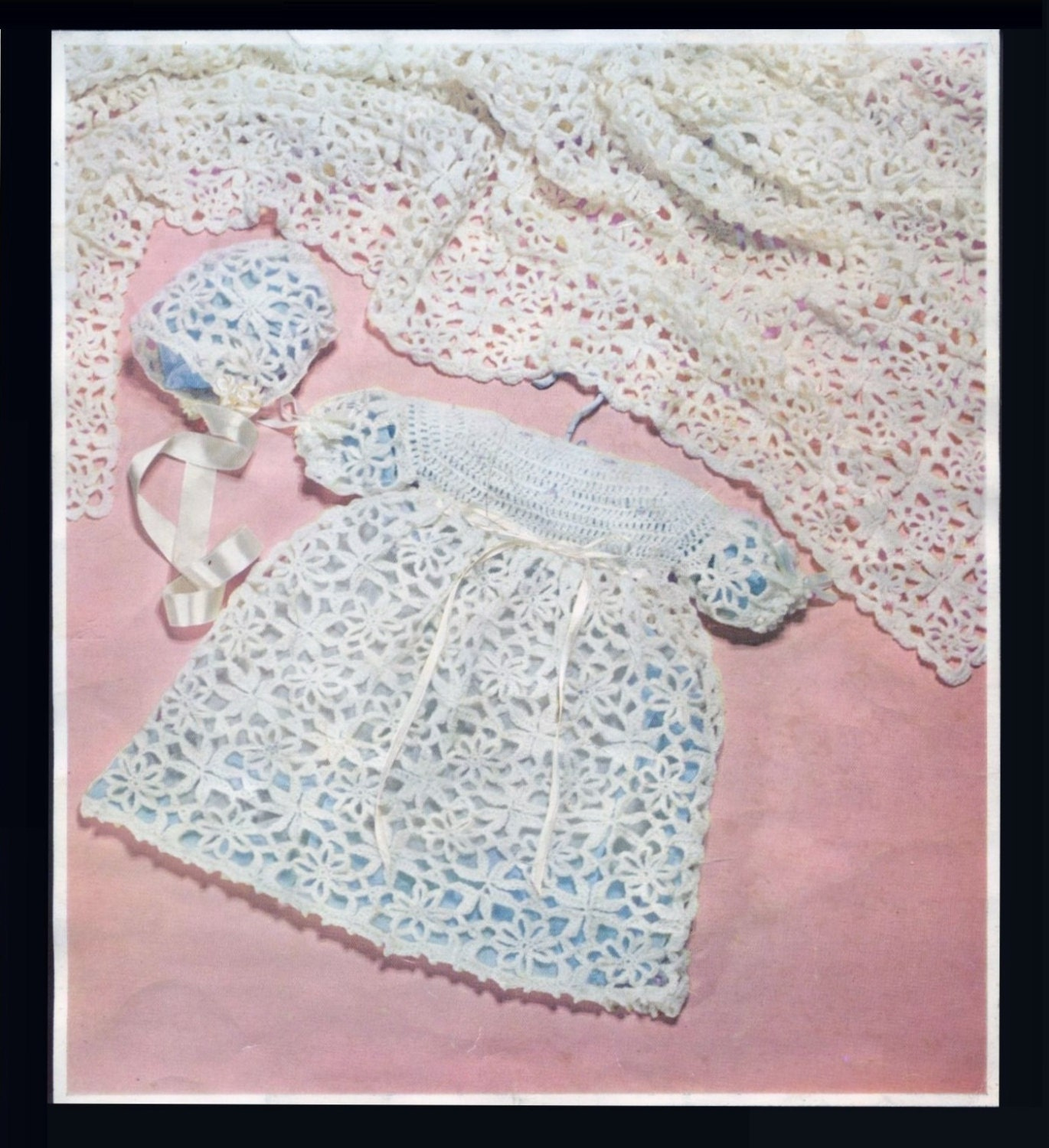 Baby Shawl and Christening Dress and Bonnet 18 ins PDF of a