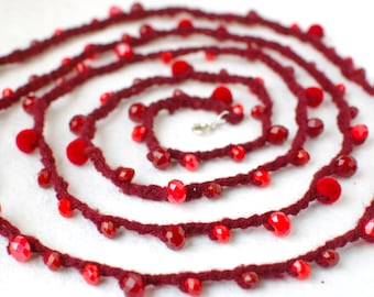 Cherry Crochet Lariat Necklace Bracelet Belt Headband - Red