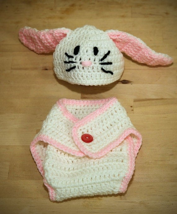 Bunny Hat and Diaper Cover Baby Crochet by LuluAndPops on Etsy