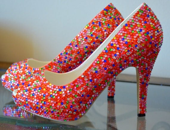 FREE US Shipping, Reduced Intl Shipping/ Gorgeous Handmade Crystal Covered Shoes, sample sale
