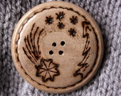 Starry night, hand made button from walnut wood, wood burned design. CHRISTMAS EDITION - limited.