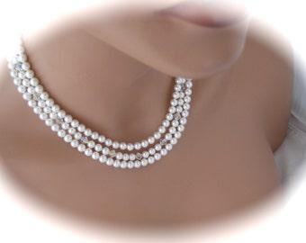 Bridal Jewelry Pearl Necklace Wedding Jewelry Bridesmaid Necklace Pearl and Crystal Necklace