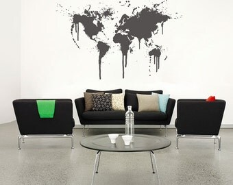 Wall decal world map office home wall decor map decal