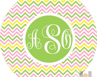Monogrammed girls chevron pink, green & yellow dinner plate! Perfect for birthdays! A custom, fun and UNIQUE gift idea!
