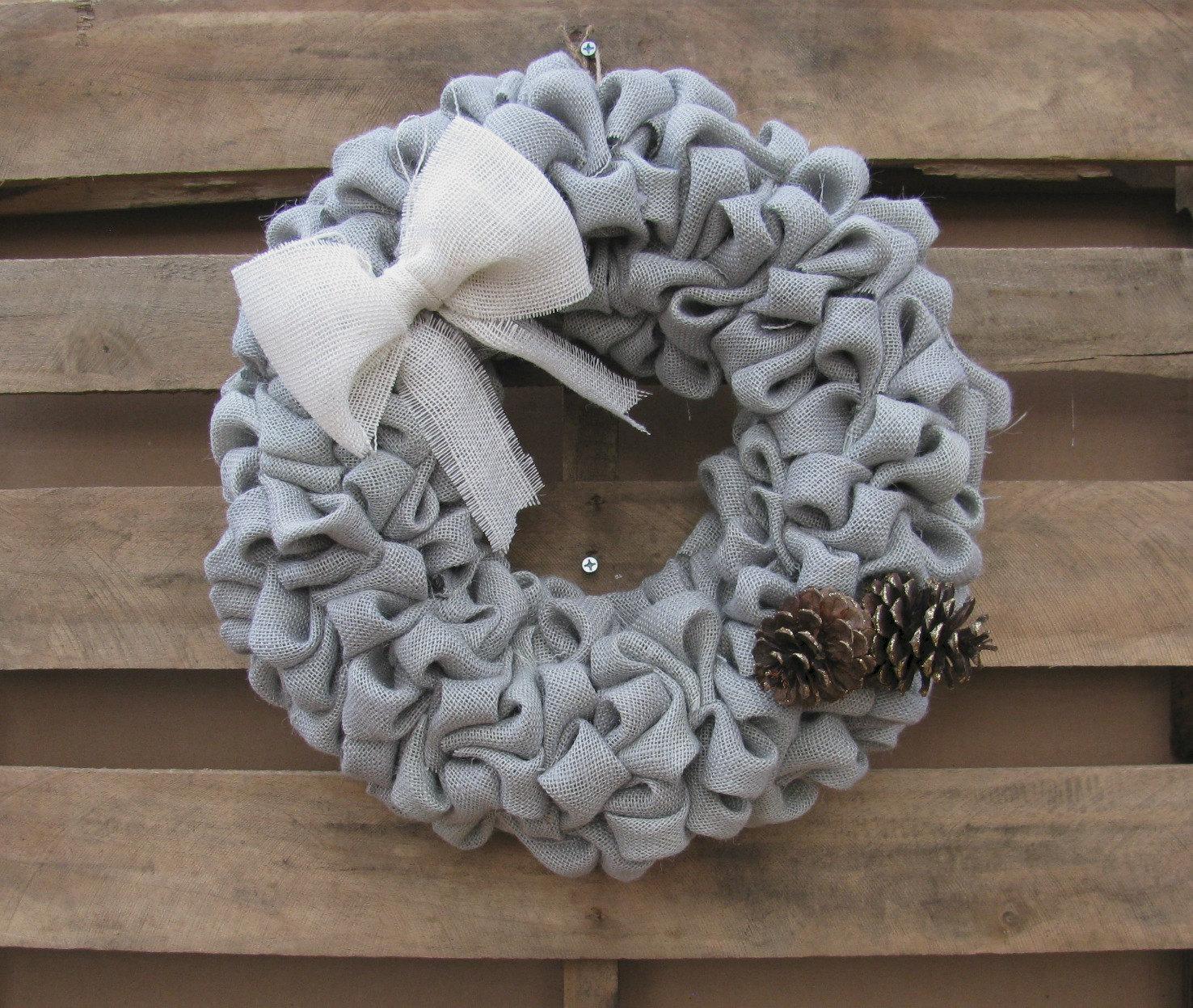 burlap winter wreath rustic front door decor. Black Bedroom Furniture Sets. Home Design Ideas