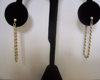 Vintage Braided link Chain Style Earrings in Sterling Silver