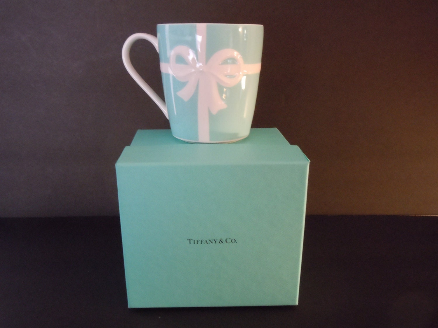 ON SALE Tiffany and Co Blue Bow Box MUG Double Ribbon New in