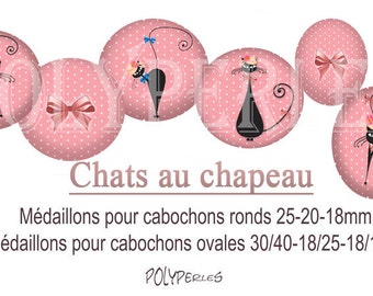 Image digital jewelry round and oval cabochons * cat in hat *.