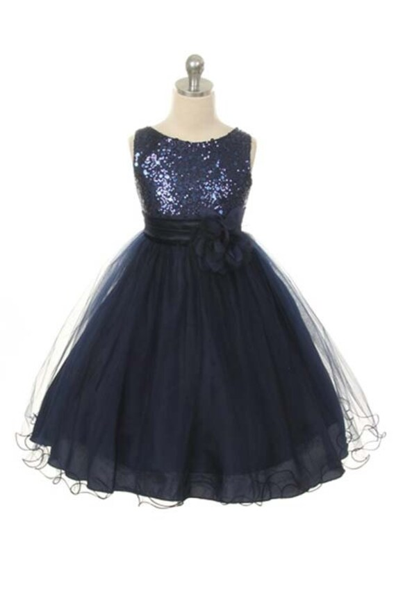 Flower Girl Dress Navy  Sequin Double Mesh Flower Girl Christmas Special occasion  Dress