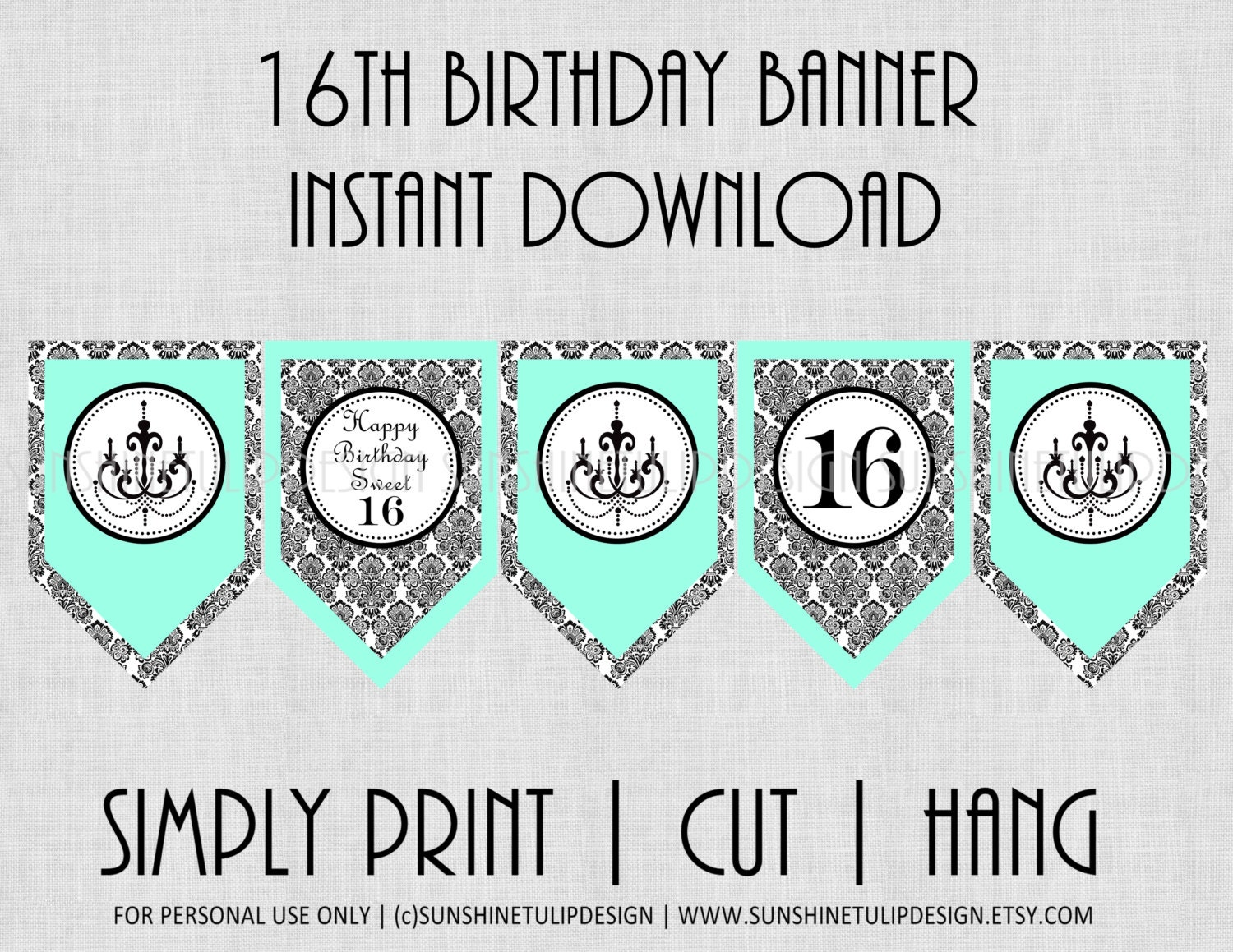 printable 16th birthday banner printable sweet 16 banner. Black Bedroom Furniture Sets. Home Design Ideas