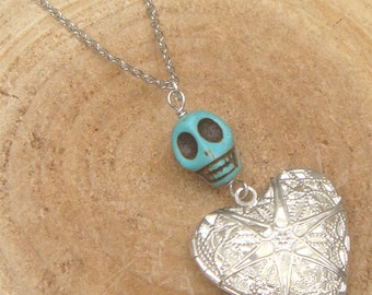 Silver Turquoise Skull Locket Necklace Victorian Jewelry Gift Vintage Style