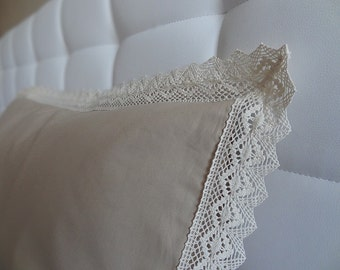 Natural Brown Cotton pillow case / Cotton Lace Guipure Trimmed Bedding Pillow cover / Full Euro Queen King Size Sham
