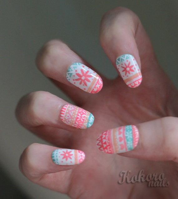 Hand Painted Christmas Nail Art: Hand-painted Pink Fair Isle Christmas Jumper Sweater Acrylic