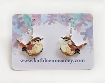 Wren bird drop earrings