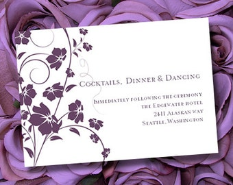 "Wedding Reception Invitation ""Madison"" Plum 