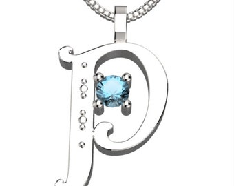 "BirthStone Letter P March Aquamarine 925 Solid Sterling Silver Pendant &18"" Necklace"