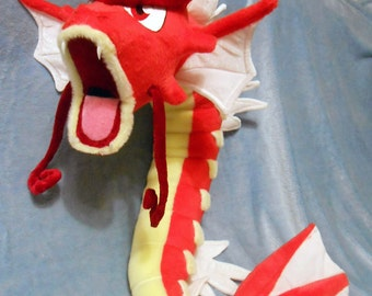 Pokemon inspired Shiny Red Gyarados (90 cm long) plushie made of minky, poseable and super cuddly!