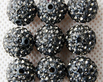 10Pcs 10mm Polymer Clay with Rhinestone Loose Bead Pave Disco Crystal Ball Beads Spacer Findings - Grey