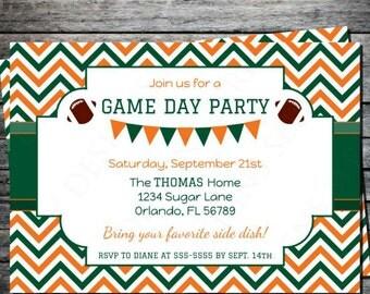 Football Party Invitation - Chevron, Modern, Orange and Green, Printable, Digital