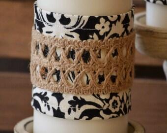Black and Cream Damask Candle Wraps - Jute Lattice  - Set of Two