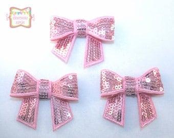 """SALE 2"""" Pink Sequin Bows 3 Pieces #A104"""