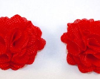 "2.5"" Red Burlap Flower 2 Pieces"
