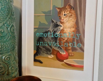 11x14 Print of Vintage Paint By Number PBN Unavailable Cat