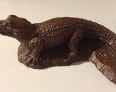Vintage Red Mill MFG Handcrafted Wooden Alligator Figurine