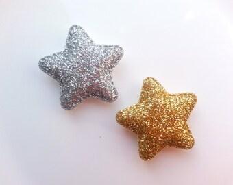 Girls/Baby Hair Clip, Glitter Star Hair Clip, Gold/Silver Star Hair Clip, Gold/Silver Glitter Hair Clip, Toddler No Slip Hair Clip