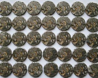 """SALE...1"""" .  Set of 35  Vintage Soviet Watch movements , steampunk parts , cuff links supplies"""