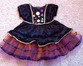 Toddler Girls Halloween Witches Costume Dress, Multi- Colored Available in 5T - 6T
