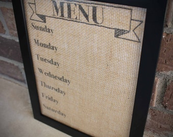 Menu Board on Burlap WITH FRAME , Dry Erase/Wet Erase Burlap Menu Planning Board , Burlap Menu Planning Board 8.5x11